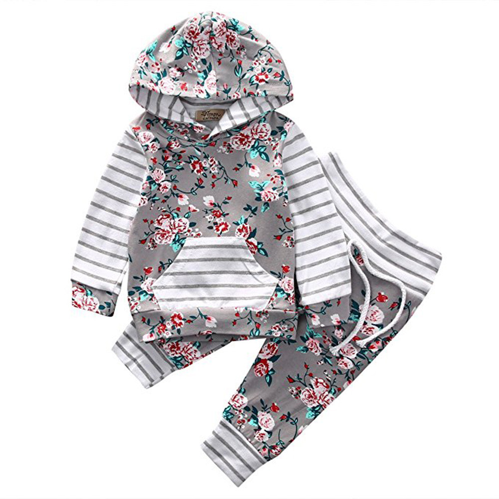 New cute autumn winter kids Newborn Infant Baby Girl Floral Striped Hoodie Tops+Pants Outfits Clothes Set roupas infantis menina cupcake birthday outfits leopard baby romper dress headband shoes infant lace tutu set roupa bebe menina winter girl clothes