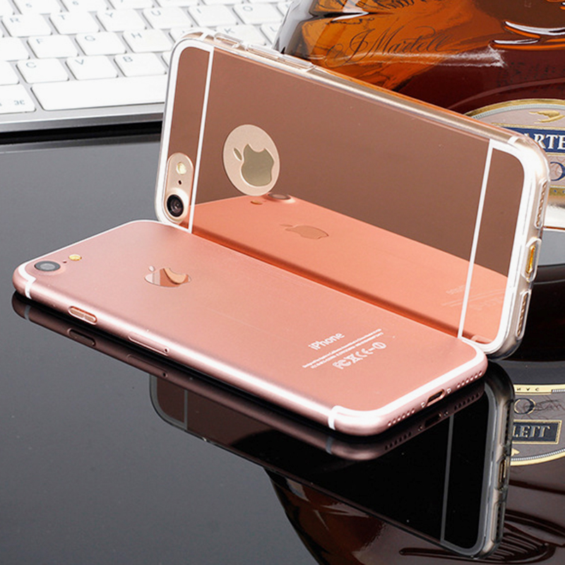 XINKSD Gold Luxury Plating Bling Luxury Mirror Case For iPhone X 8 7 6 6S Plus 5s SE Soft Clear TPU Cover For iPhone 6 7 6S 5S