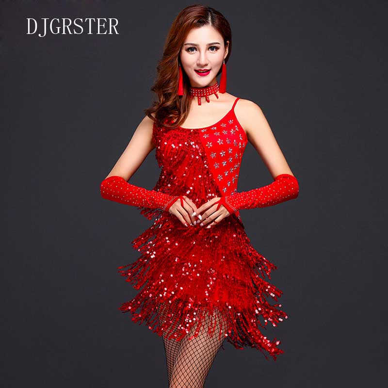 DJGRSTER Latin dance dress performance wear adult tassel sequins clothing customize women ballroom dance dress for latin dancing