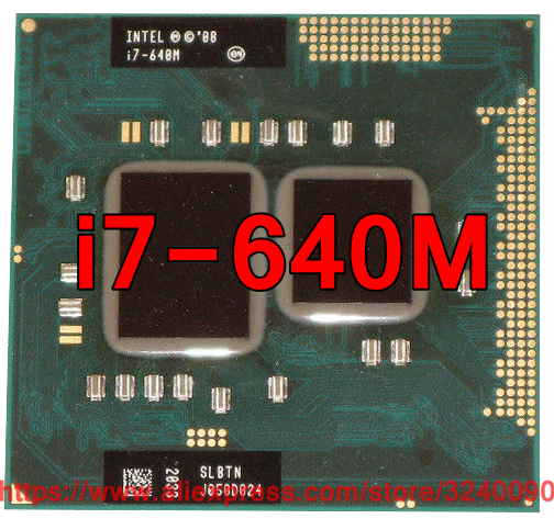 Original lntel Core i7 640M 2.8GHz i7-640M Dual-Core Processor PGA988 SLBTN Mobile CPU Laptop processor free shipping
