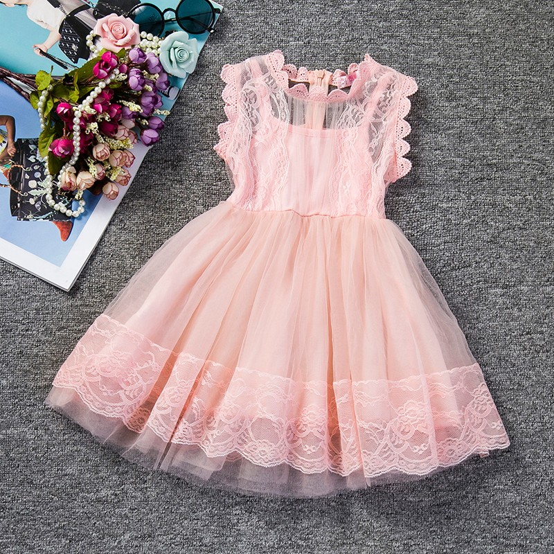 Gown Dress Girls Clothes Party-Wear Floral Wedding-Christening Lace Princess Baby-Girl