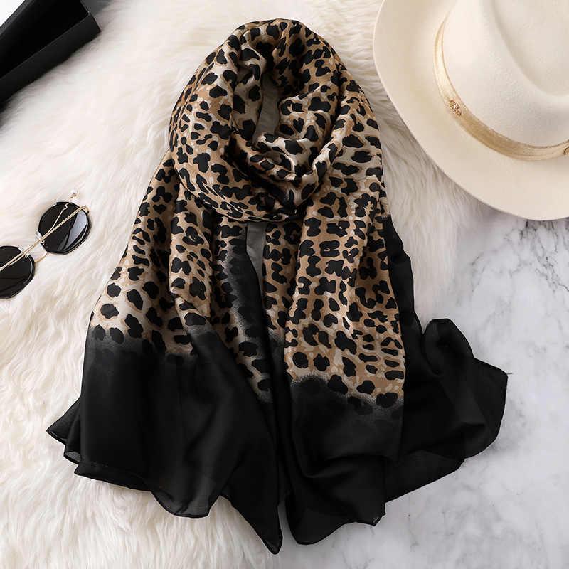 2019 mulheres de luxo ombre leopardo dot lenço de seda natural senhora moda impressão xales e envoltórios pashmina foulards bandana hijab snood