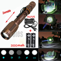 2300LM XM-L T6 Zoomable LED Flashlight  5 Mode Waterproof Torch light +2x18650 Battery +EU/US wired Charger