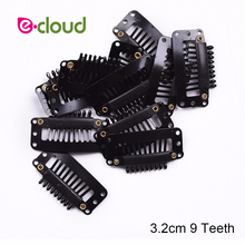 20 unids/lote de Clips de 32mm para extensiones de cabello, peluca de tupé con forma de alambre, Clips de 9 dientes para peluca, herramientas para accesorio de peinado
