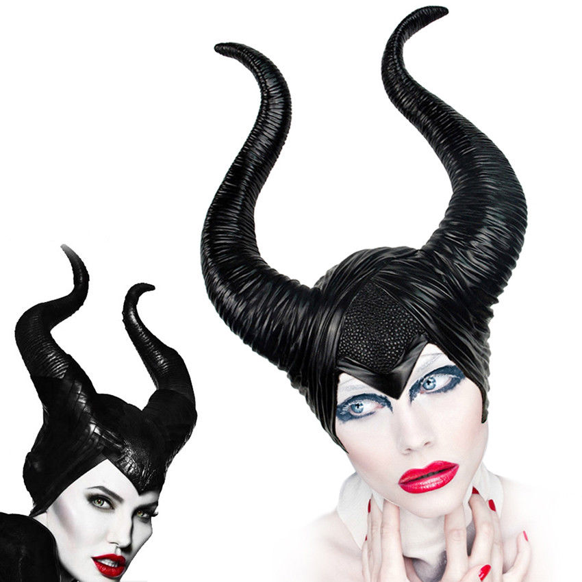 Maleficent Witch Horns Hat Cosplay Black Queen  Head Wear Mask Headgear Halloween Cosplay Party Prop Drop Ship chifres malevola png