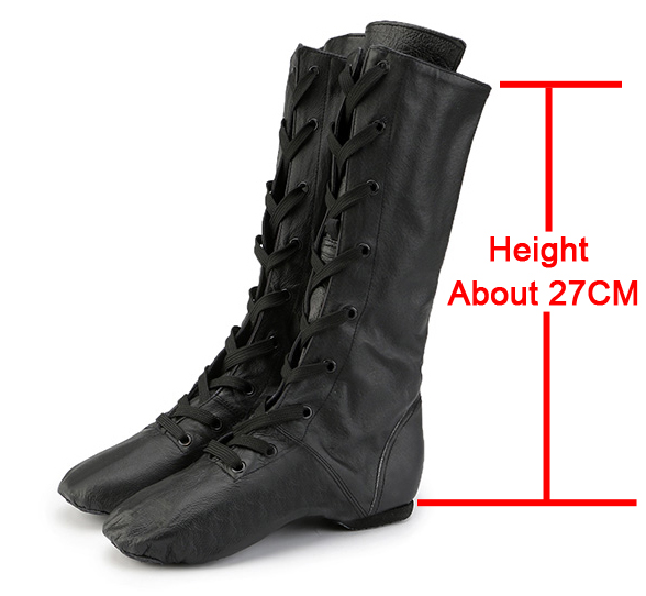2019 New Genuine Leather Sports Dance Feature High Boots for Women Jazz Dance Shoes Stage Performance Shoes Plus Size 31 45 in Dance shoes from Sports Entertainment