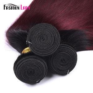 Image 5 - 3 пряди бразильских волос Ombre, предварительно окрашенные, с закрытием шнурка 1B/ 99J, прямые переплетенные человеческие волосы в комплекте, не Реми