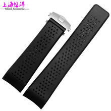 22 mm 24 mm high quality Stainless Steel Silver Black Holes deployment Diving Silicone Rubber Strap