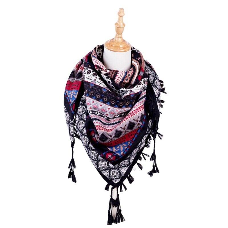 Bohemia Ethnic Style New Fashion  Women Scarf Square Scarves Wraps Autumn Winter Female Tassel Printed Girl Shawls Scarf Blanket