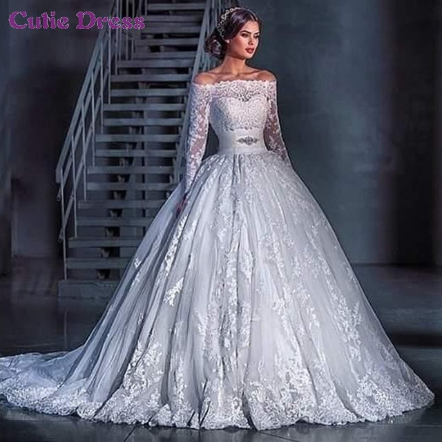White Lace 2016 Elegant Off the Shoulder Appliqued Long