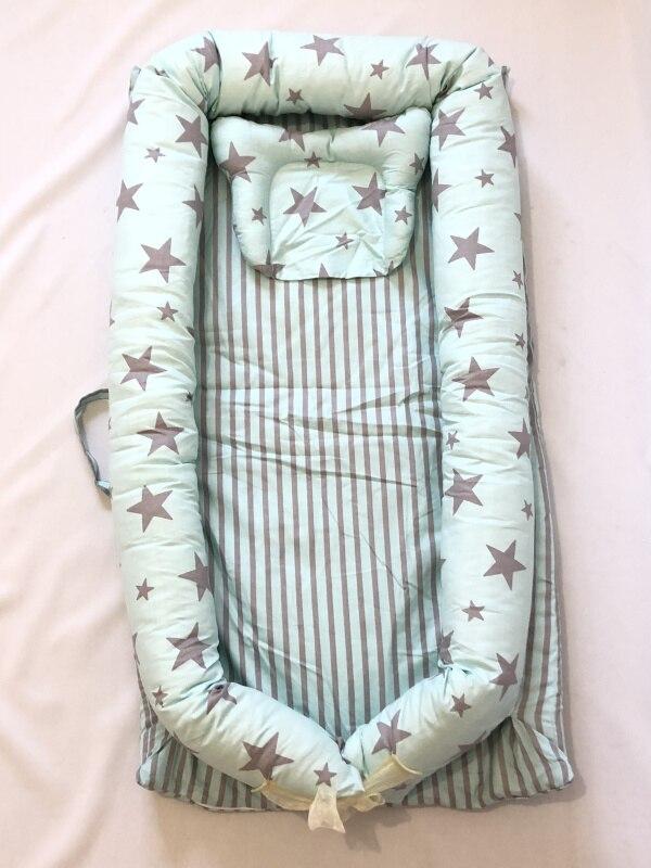 Детская кровать-гнездо с подушкой, детская кровать, snuggle nest. Co-sleeper, детская кровать для путешествий, детский кокон, детская кровать, детская спальная - Цвет: Sky Green