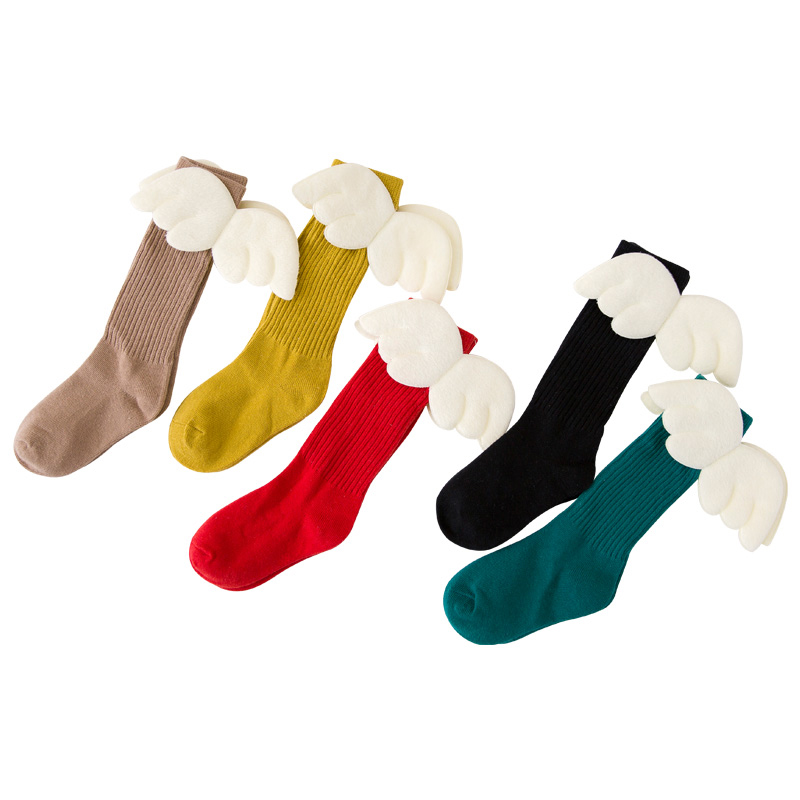 Boys Girls Angel Wing Socks Kids Winter Warm Anti-Slip Candy Color Sock Children Long Knee Wings Design Stocks NBB0019