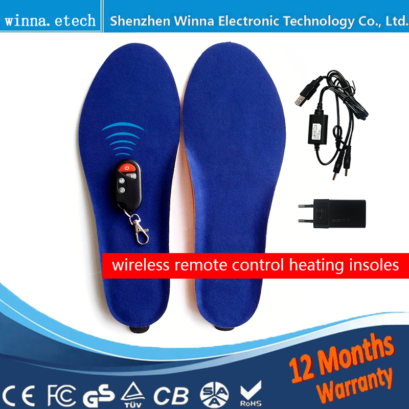 Nouveau chauffée semelles batterie pour hommes femmes bottines semelles hiver épais semelles grande taille 41-46 #2000 mah noir bleu