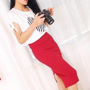 Image 4 - Korean Women Long Skirts High Waist Slim Thin Slit Skirt Saia Longa Rib Tight Package Hip Skirt  MY917