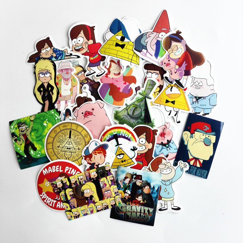 25Pcs/lot Funny Gravity Falls Stickers Decal For Snowboard Laptop Luggage Car Fridge Car- Styling Vinyl Home Decor Pegatina 12cm 9cm high gas consumption decal fuel gage empty stickers funny vinyl jdm car stickers car styling black sliver