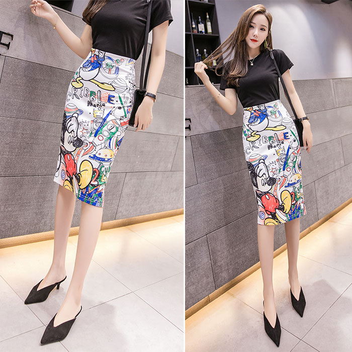 ATKULLQZ 2019 S-XL High Waist Cartoon Mickey Skirt Print Knee Length Skirts Women Harajuku Street Kwaii Stretchy Pencil Skirt