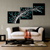 100 High Quality 3pcs Tree Of Life Bule Flower Oil Painting On Canvas Home Wall Art