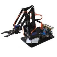 4 DOF Acrylic Mechanics Handle Robot Arm Robot Manipulator Alloy Mechanical Arm Clamp Claw Kit for Arduino Robotic Education