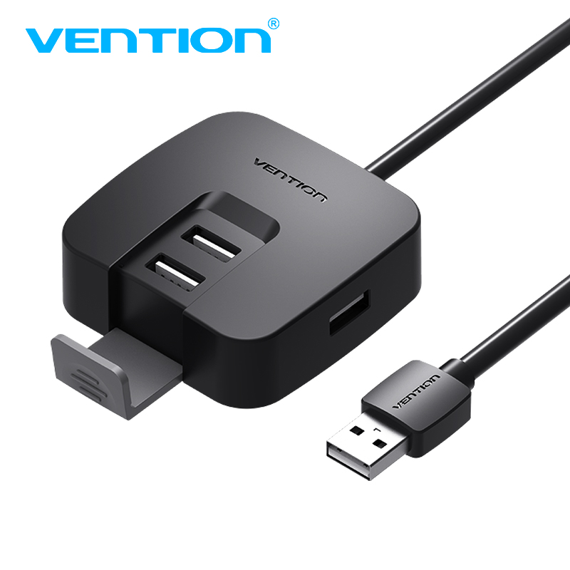 Vention 4 port USB Hub 2.0 with Micro USB Power Interface&Phone Holder USB Splitter Adapter For Laptop Card Reader Comput Table