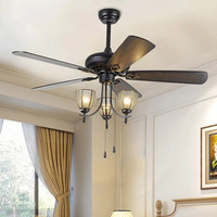 American ceiling fan light wood fan leaf LED smart mute AC 110V 220V inch wired control home living room bedroom