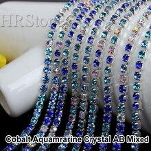 Mix Blau Farben Kristalle strass termoadhesivos Glas Strass Nähen auf Schalenkette Trimmen Für Hochzeitskleid