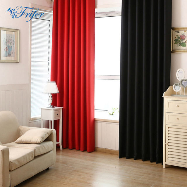 solid color blackout curtains full shade insulation 100215cm polyester rod pocket curtain modern living