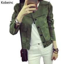 Chaquetas Mujer 2017 Spring New Retro Military Green Jacket Fashion Casual Suede Outerwear Coats Women Jaqueta Feminina Tops