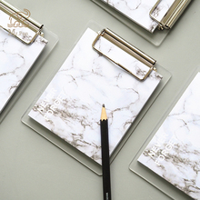 Creative Marble Printing Pattern Memo Pad Sticky Notes Memo Portable Notepad with Acrylic Writing Board Clips School Stationery