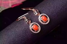natural red coral drop earrings 925 silver Natural gemstone earring for women Classic elegant round drop earrings for wedding