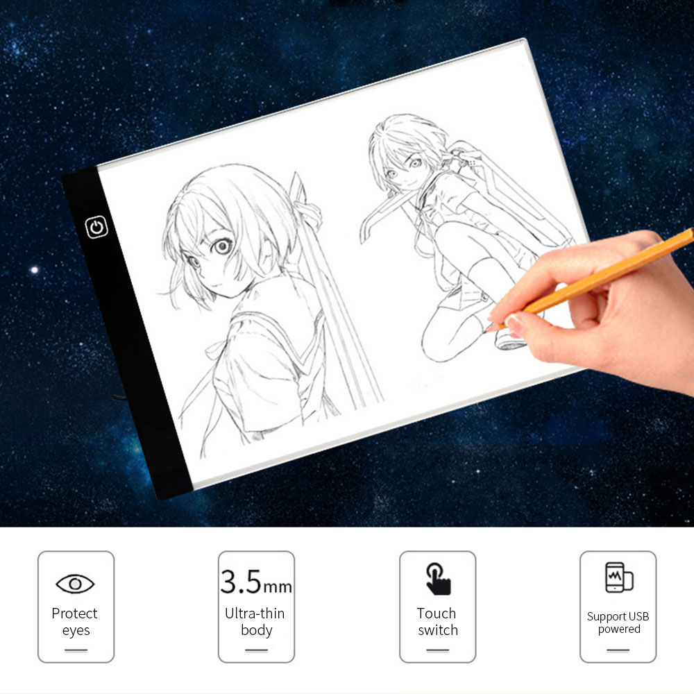 A4 Graphics Tablet LED Digital Stepless Dimming Drawing Table Pads Light Box Copy Board Electronic Painting Writing Tablet