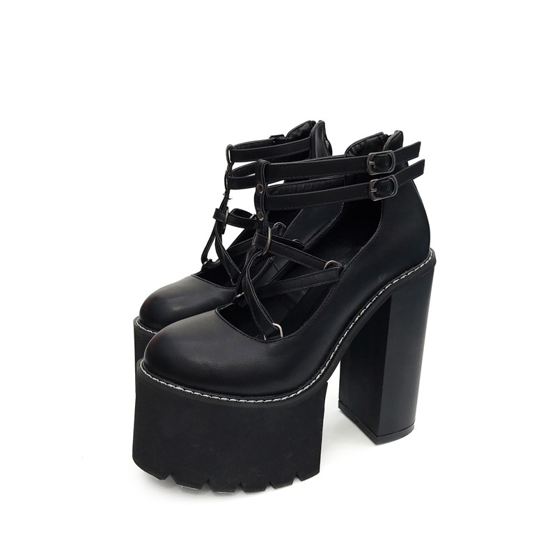 Black/White High Heels Punk Rock Women Ankle Boots Casual Pumps Platform High Heel Shoes Spring Punk Rock Thick Heel Shoes