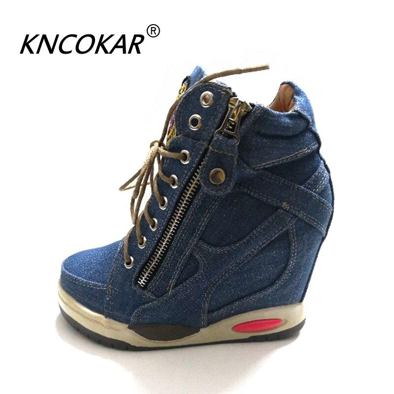 KNCOKA été nouveaux talons compensés confortables pour femmes avec des chaussures simples en toile Denim élégantes et simples