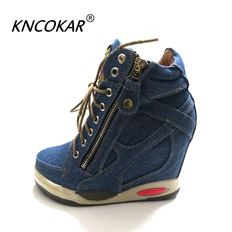 KNCOKA Summer New Women's Comfortable Wedge Heels With Stylish And Simple Denim Canvas Single Shoes