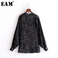 EAM 2018 Spring Summer New Fashion Black Asymmetry Printed Pearls Buttons Turtleneck Long Lantern Sleeve
