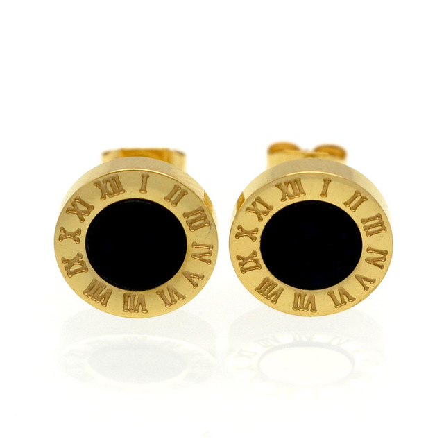 Top Quality Stainless Steel White S And Black Roman Numerals Stud Earrings For Women Men