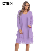 OTEN Dwuczęściowy zestaw 5XL Plus size Odzież Kobiety Sexy z długim rękawem Loose Casual Party Szyfonowa sukienka midi trendy produkty 2018