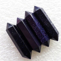 Free shipping(4 pieces/lots) Beautiful Facted Blue Sand Stone Pendulum CAB CABOCHON 32x8mm (Min.order 10$ mix)
