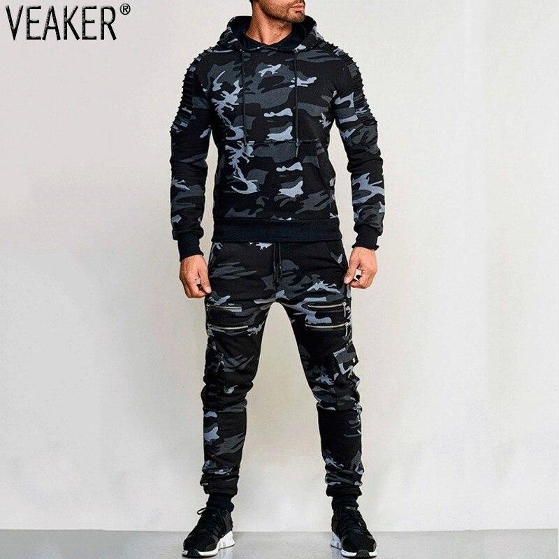 2018 Autunno dei Nuovi Uomini di Zipper Camouflage Set di Pantaloni Della Tuta e Felpe Set Maschio Casual Bodybuilding Fitness Tuta Felpe