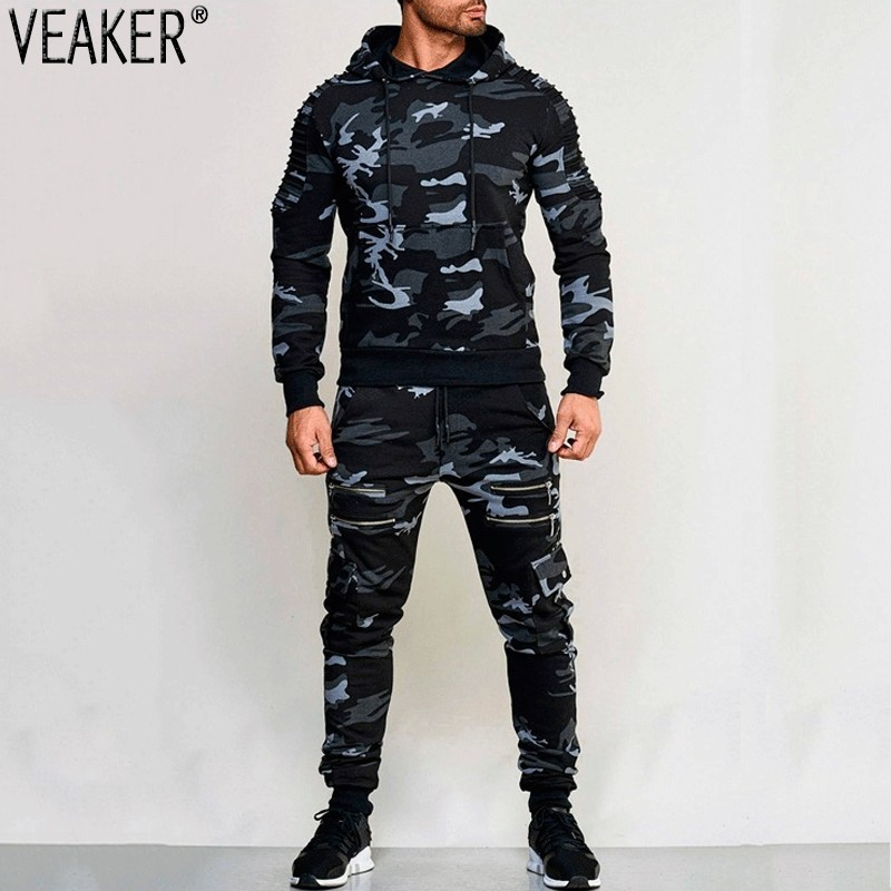 2019 Autumn New Men's Zipper Camouflage Sets Sweatpants And Hoodies Sets Male Casual Bodybuilding Fitness Tracksuit Sweatshirts