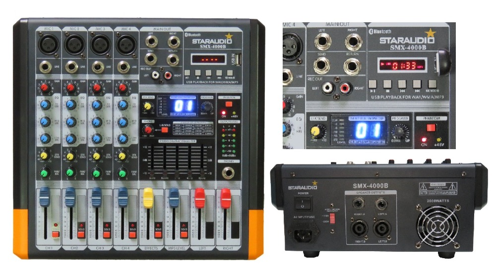 STARAUDIO Pro PA DJ Stage 4 Channel 2000W Amplifier Powered MP3 Bluetooth USB SD 16 DSP Mixer  SMX-4000BSTARAUDIO Pro PA DJ Stage 4 Channel 2000W Amplifier Powered MP3 Bluetooth USB SD 16 DSP Mixer  SMX-4000B