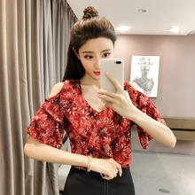 Floral Print Womens Tops And Blouses Camisas Mujer V-Neck Short Flare Sleeve Ruffles Cold Shoulder Chiffon Women's Blouse недорого
