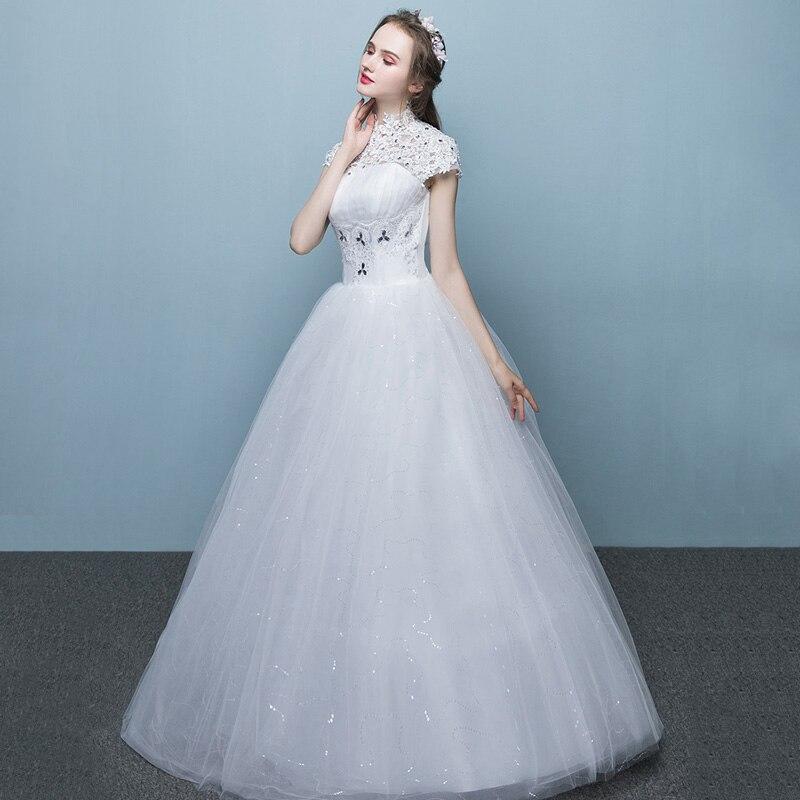 LAMYA Women Lace High Neck Wedding Dress Princess Plus Bridal Gowns Floor Length Ball Gown Wed Dresses vestido de noiva-in Wedding Dresses from ...