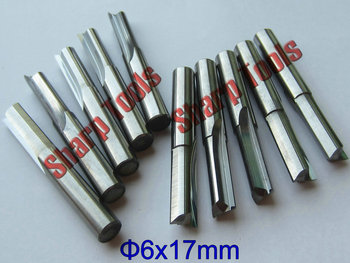 SHARP 5pc 6x17mm 2 Straight Flute Milling Cutter, Router Bits for Wood 6mm, Cutting Tools for Milling Engraving MDF, Acryl, Foam