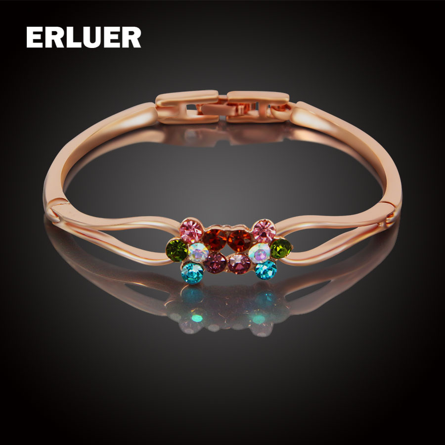 ERLUER charm bracelets & bangles rose gole plated Austrian Crystal fashion girls flower Rhinestone bracelet women Birthday gifts
