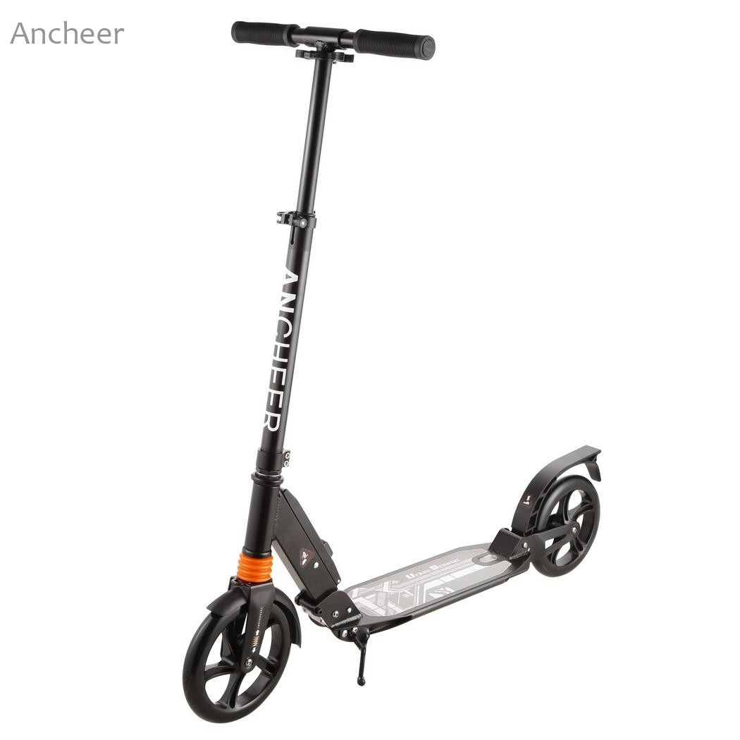 ANCHEER Aluminum 2 Wheel Scooters Adult Kick Scooter Foldable Portable Mini Bicycle 3 Levels Adjustable Height Kick Scooter ancheer new adult scooter adjustable height 2 wheel kick scooter foldable 3 levels foot scooters wakeboard
