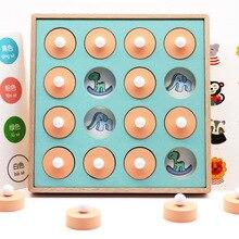 Montessori Memory Match Schaakspel 3D Puzzels Houten Vroege Educatief Familie Party Casual Interactie Spel Speelgoed Voor Kinderen Kid