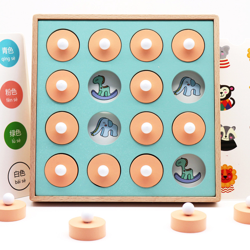 Montessori Memory Match Chess Game 3D Puzzles Wooden Early Educational Family Party Casual Interaction Game Toy For Children Kid image