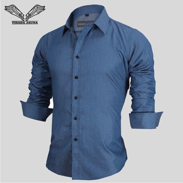 Camisa de Brim dos homens 2017 Novo Arrvial europa Tamanho S-XXL Casual Masculina Sociais Slim Fit Algodão Manga Comprida Camicia Uomo N1090