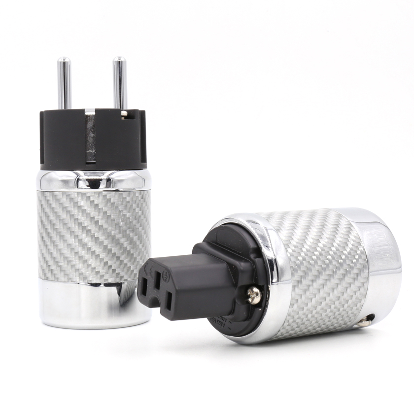 цена на Free shipping One pair Carbon Fiber Rhodium Plated EU Power Plug hifi IEC Female Plug