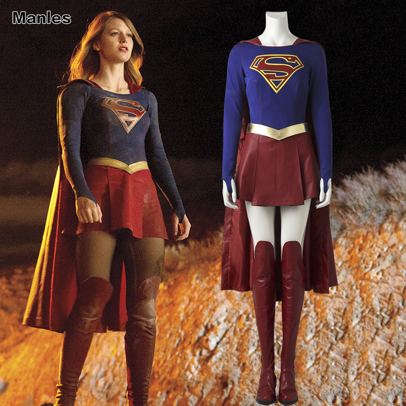 Supergirl Kara Zor El Danvers Costume Cosplay Superwoman Red Cape Halloween Superhero Clothing Carnival Fancy Dress